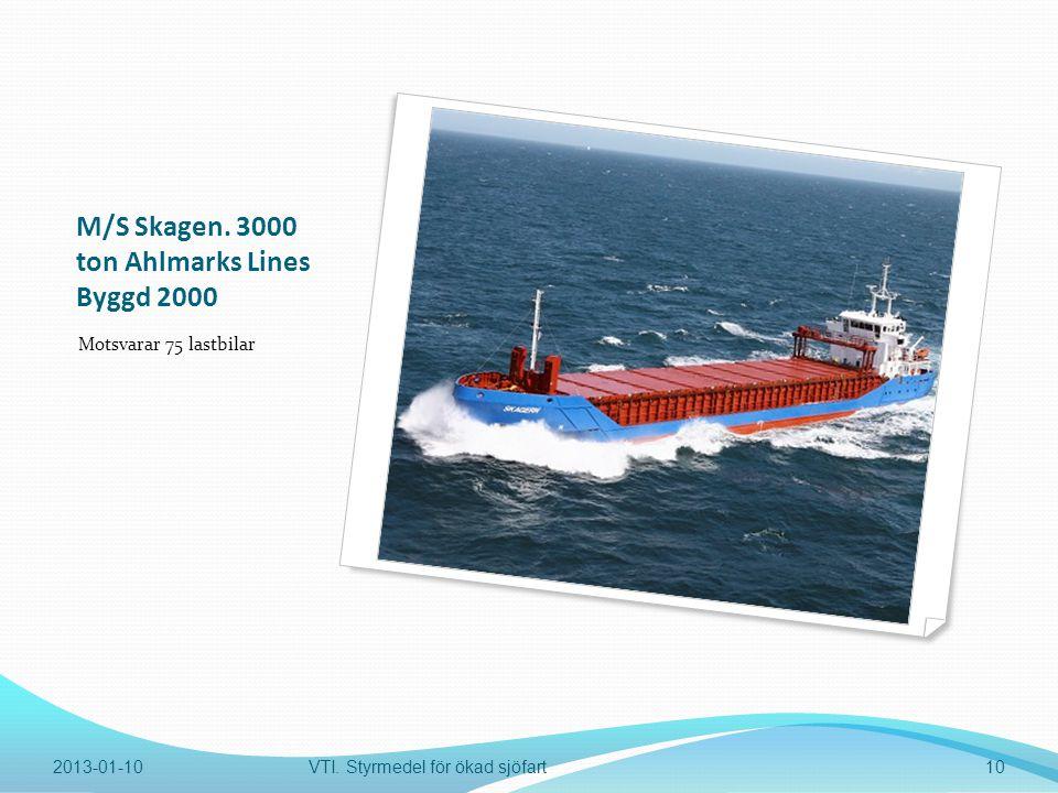 M/S Skagen. 3000 ton Ahlmarks Lines Byggd 2000 Motsvarar 75 lastbilar 2013-01-10VTI.