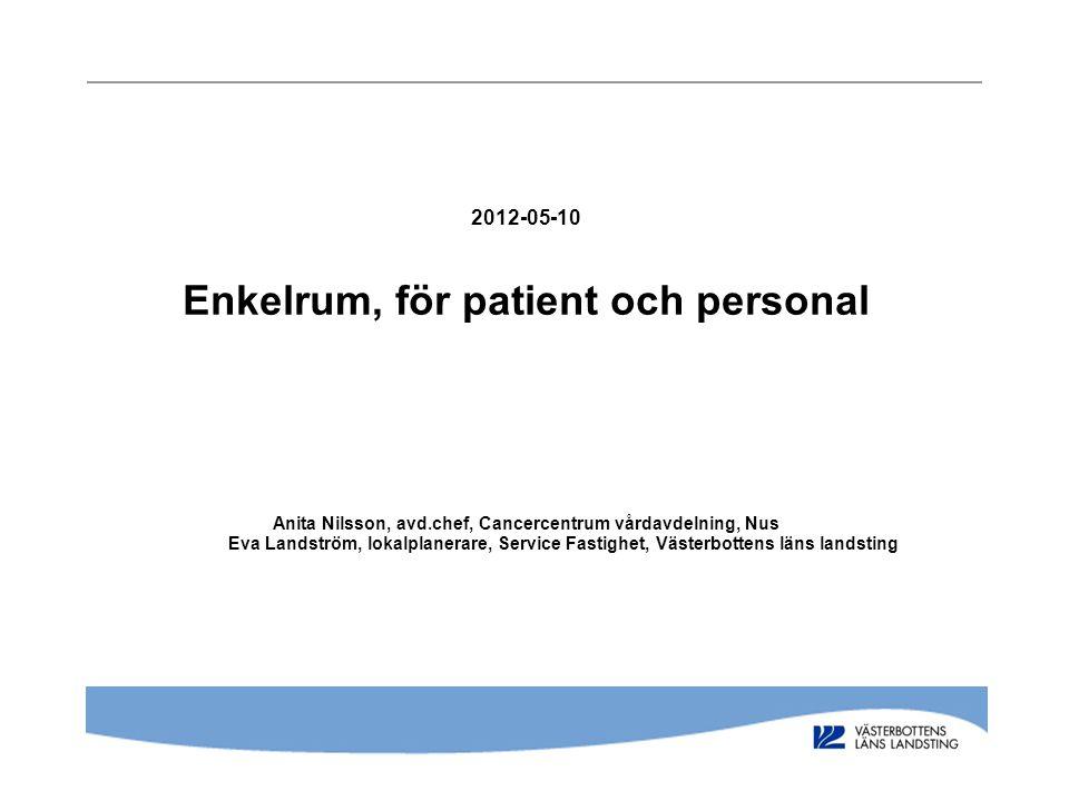 2012-05-10 Enkelrum, för patient och personal Anita Nilsson, avd.chef, Cancercentrum vårdavdelning, Nus Eva Landström, lokalplanerare, Service Fastigh