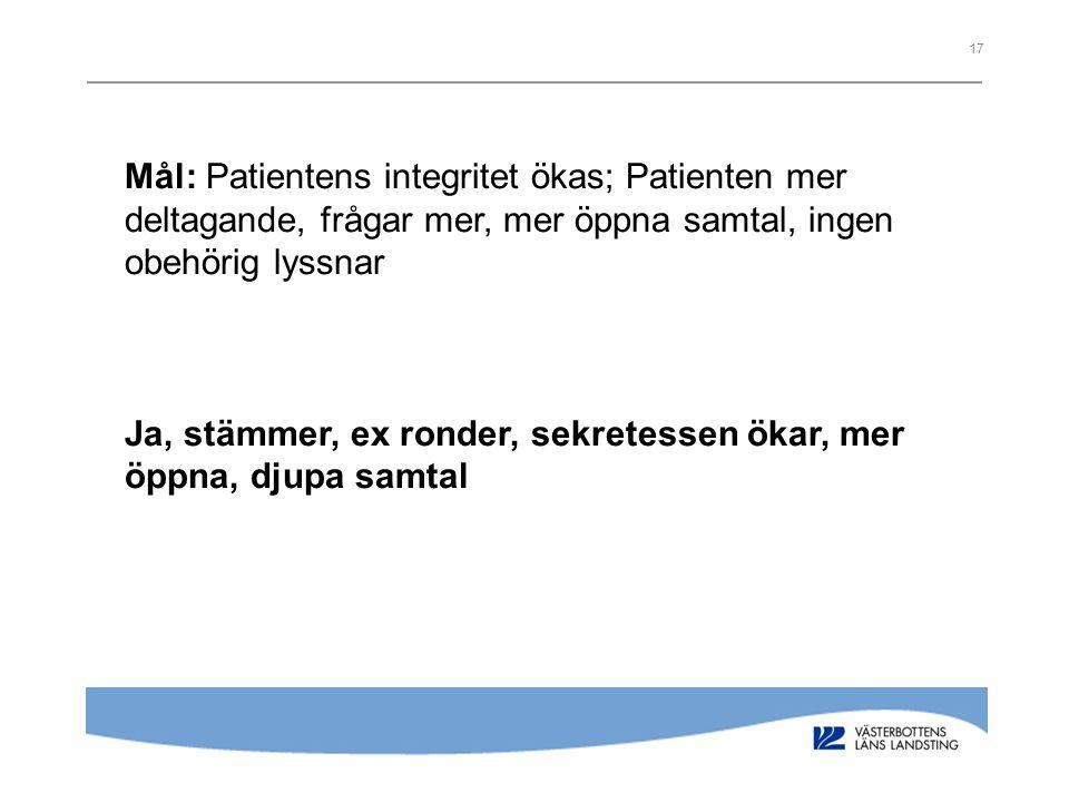 17 Mål: Patientens integritet ökas; Patienten mer deltagande, frågar mer, mer öppna samtal, ingen obehörig lyssnar Ja, stämmer, ex ronder, sekretessen