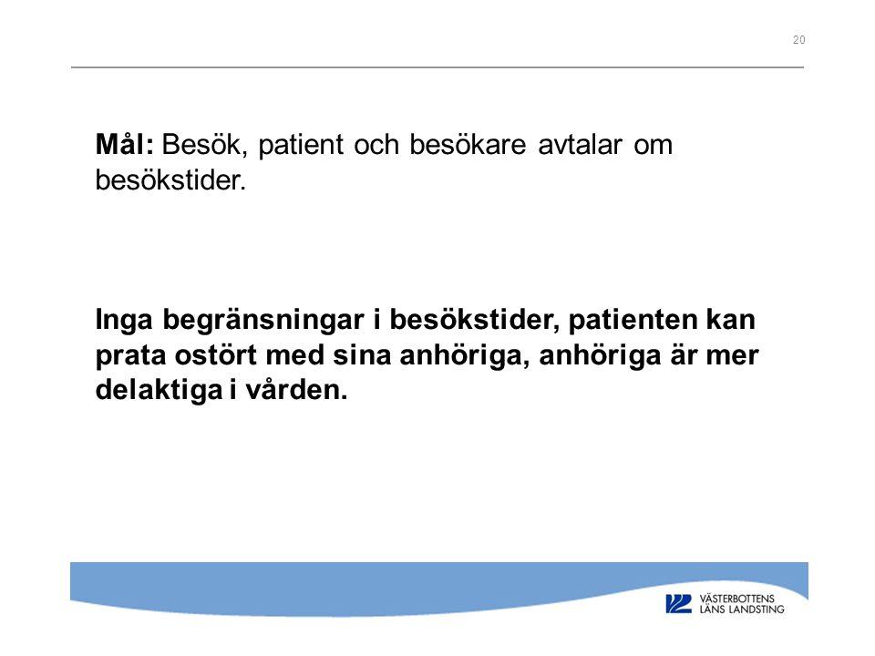 20 Mål: Besök, patient och besökare avtalar om besökstider. Inga begränsningar i besökstider, patienten kan prata ostört med sina anhöriga, anhöriga ä