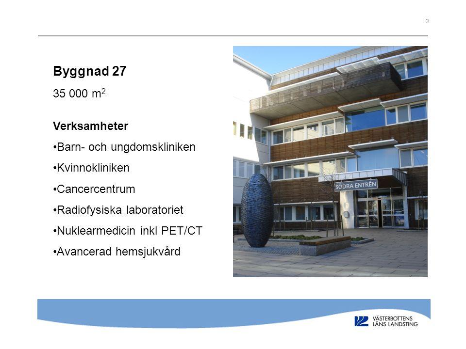 3 Byggnad 27 35 000 m 2 Verksamheter Barn- och ungdomskliniken Kvinnokliniken Cancercentrum Radiofysiska laboratoriet Nuklearmedicin inkl PET/CT Avanc