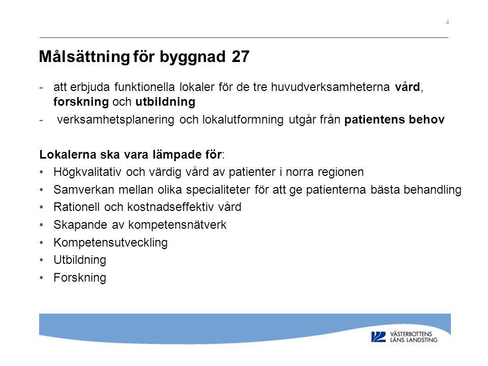 4 Målsättning för byggnad 27 -att erbjuda funktionella lokaler för de tre huvudverksamheterna vård, forskning och utbildning - verksamhetsplanering oc