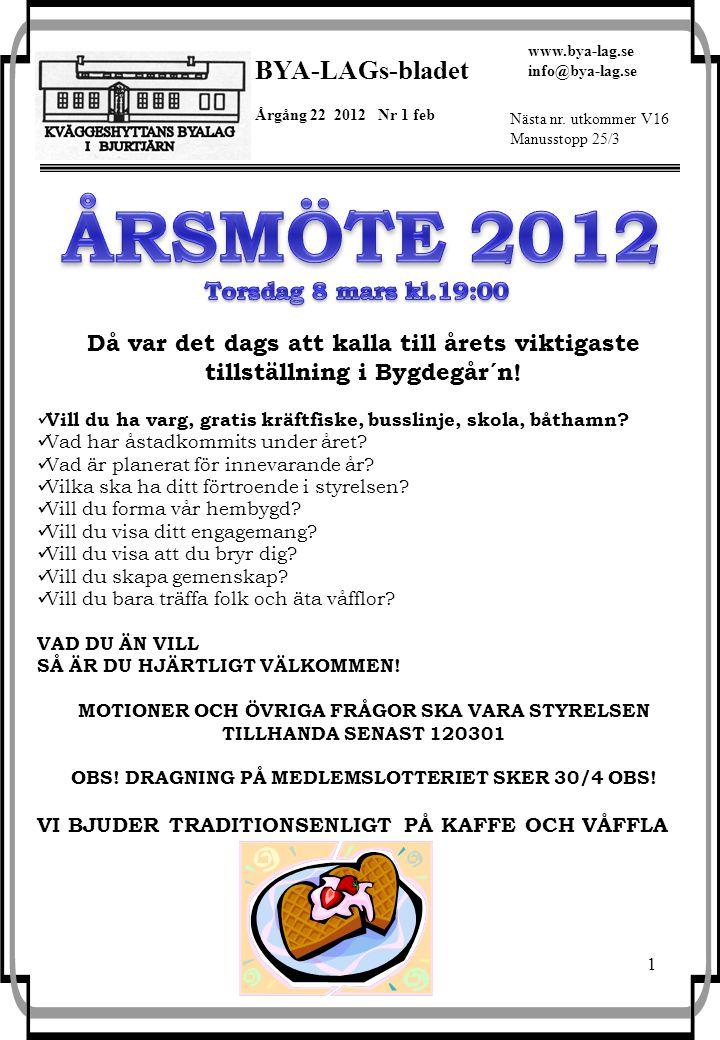1 BYA-LAGs-bladet Årgång 22 2012 Nr 1 feb www.bya-lag.se info@bya-lag.se Nästa nr. utkommer V16 Manusstopp 25/3 Då var det dags att kalla till årets v
