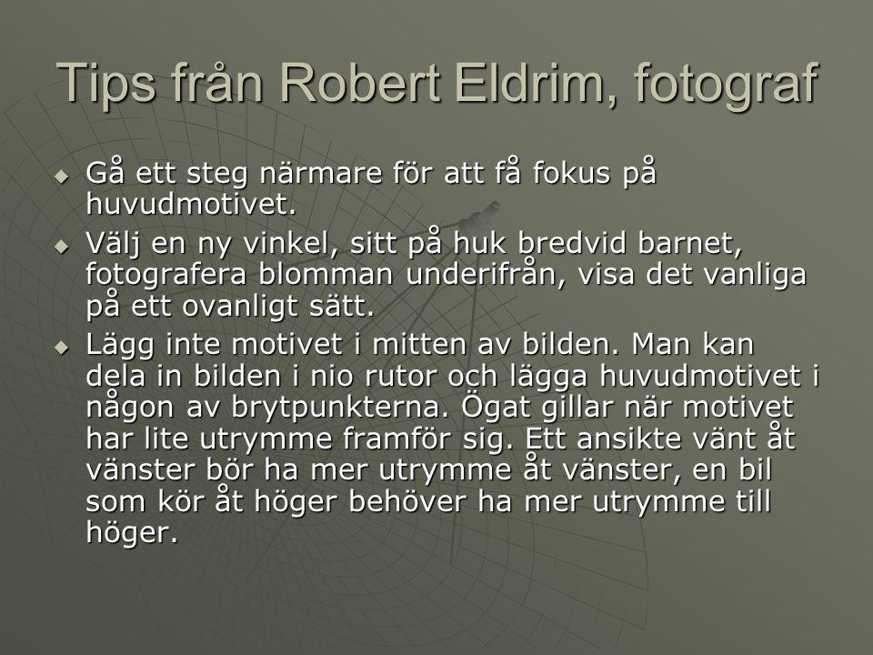Tips från Robert Eldrim, fotograf  Gå ett steg närmare för att få fokus på huvudmotivet.  Välj en ny vinkel, sitt på huk bredvid barnet, fotografera
