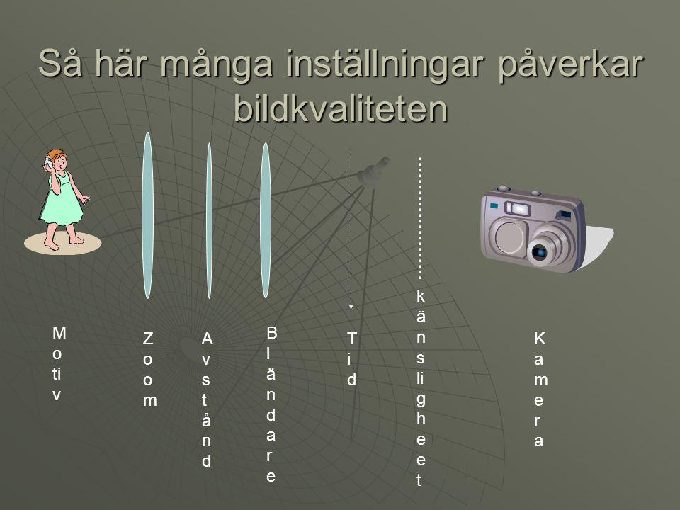 Så här många inställningar påverkar bildkvaliteten M o ti v k ä n s li g h e e t TidTid BländareBländare AvståndAvstånd ZoomZoom KameraKamera
