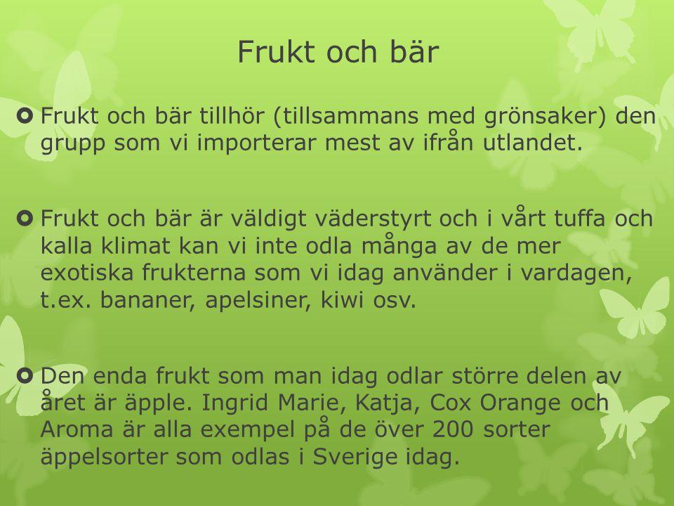Frukt och bär  Frukt och bär tillhör (tillsammans med grönsaker) den grupp som vi importerar mest av ifrån utlandet.  Frukt och bär är väldigt väder