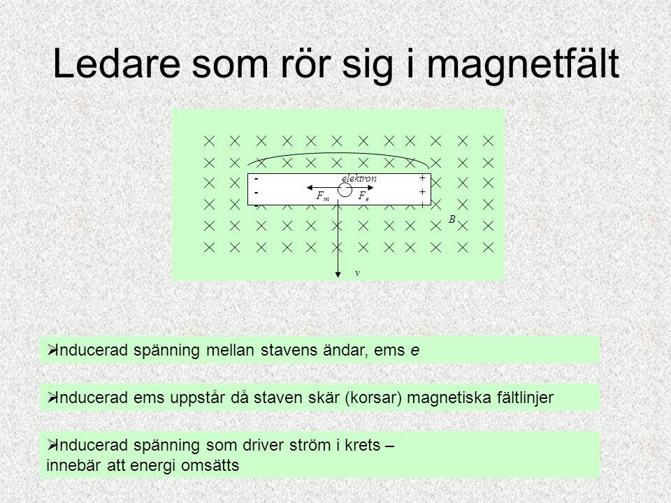 Ledare som rör sig i magnetfält  Inducerad spänning mellan stavens ändar, ems e  Inducerad ems uppstår då staven skär (korsar) magnetiska fältlinjer
