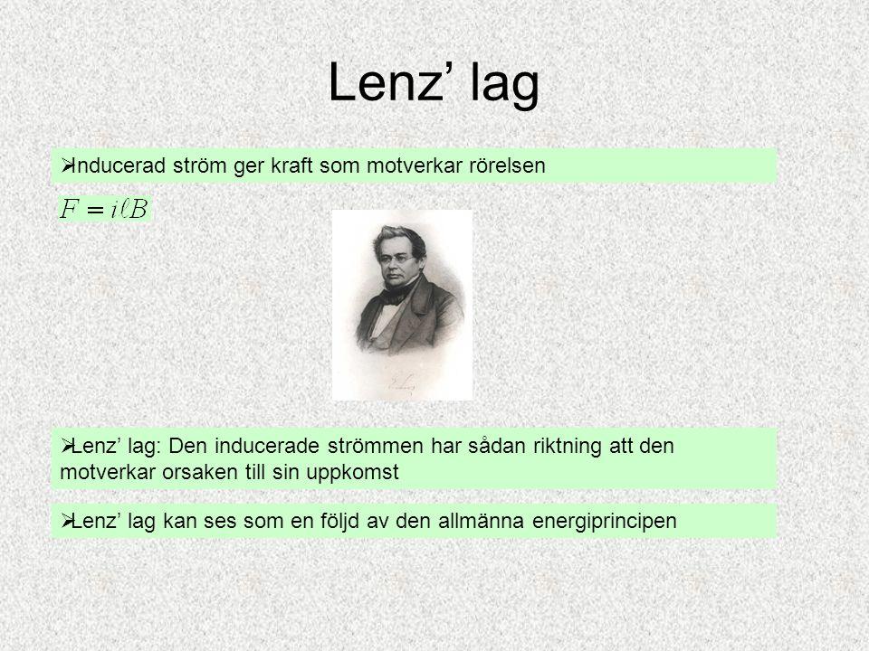 Lenz' lag  Inducerad ström ger kraft som motverkar rörelsen  Lenz' lag: Den inducerade strömmen har sådan riktning att den motverkar orsaken till si