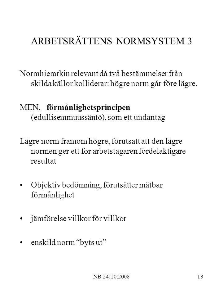 NB 24.10.200813 ARBETSRÄTTENS NORMSYSTEM 3 Normhierarkin relevant då två bestämmelser från skilda källor kolliderar: högre norm går före lägre.