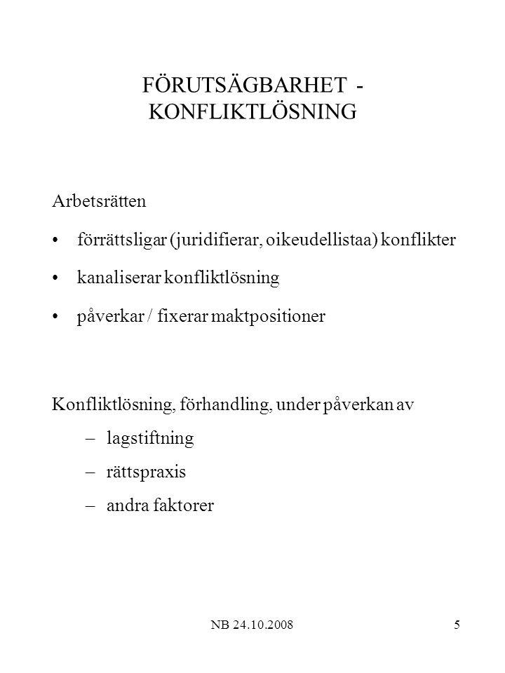 NB 24.10.20086 KONFLIKTLÖSNING, DOMSTOLAR Allmänna domstolar Tingsrätt (käräjäoikeus) Hovrätt (hovioikeus) Högsta domstolen (korkein oikeus ) Specialdomstolar Arbetsdomstolen (työtuomioistuin) –kollektivavtalstvist –exklusiv kompetens en enda instans – intresserepre- sentation (Arbetsrådet; työneuvosto) +...