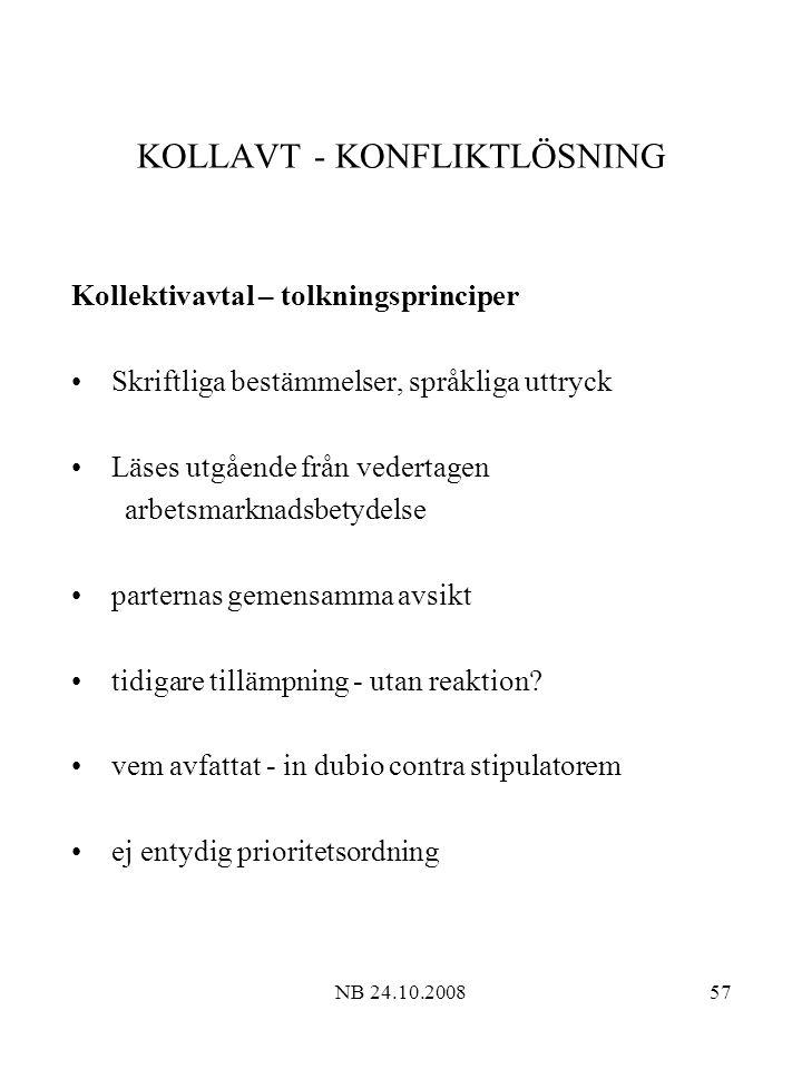 NB 24.10.200857 KOLLAVT - KONFLIKTLÖSNING Kollektivavtal – tolkningsprinciper Skriftliga bestämmelser, språkliga uttryck Läses utgående från vedertagen arbetsmarknadsbetydelse parternas gemensamma avsikt tidigare tillämpning - utan reaktion.