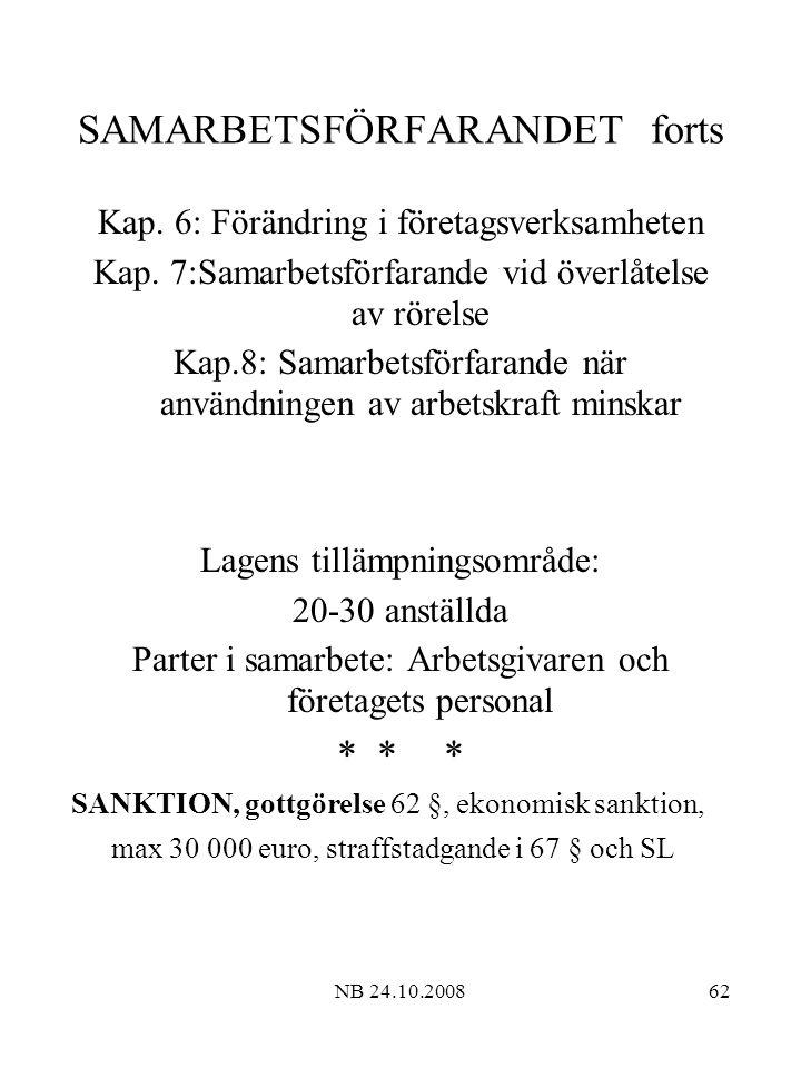 NB 24.10.200862 SAMARBETSFÖRFARANDET forts Kap.6: Förändring i företagsverksamheten Kap.