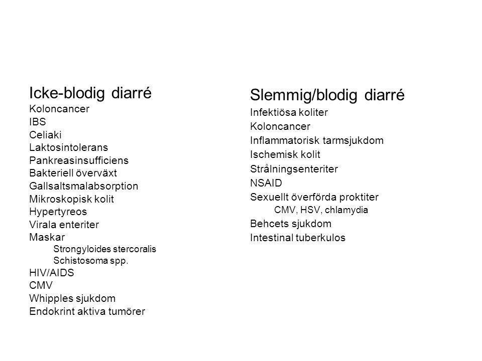 Icke-blodig diarré Koloncancer IBS Celiaki Laktosintolerans Pankreasinsufficiens Bakteriell överväxt Gallsaltsmalabsorption Mikroskopisk kolit Hyperty
