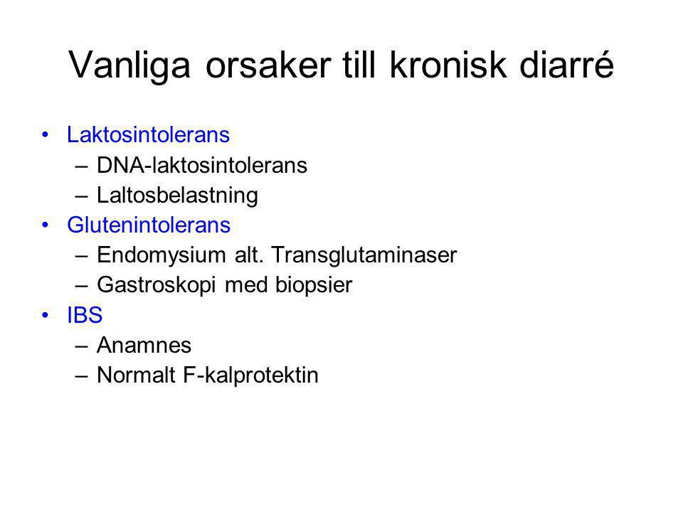 Vanliga orsaker till kronisk diarré Laktosintolerans –DNA-laktosintolerans –Laltosbelastning Glutenintolerans –Endomysium alt. Transglutaminaser –Gast