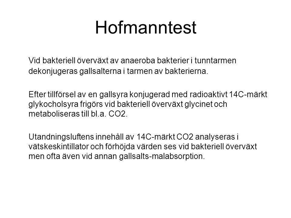 Hofmanntest Vid bakteriell överväxt av anaeroba bakterier i tunntarmen dekonjugeras gallsalterna i tarmen av bakterierna. Efter tillförsel av en galls