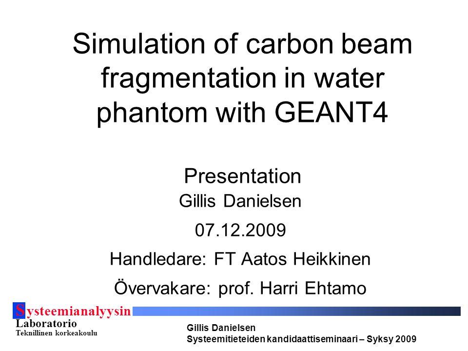 S ysteemianalyysin Laboratorio Teknillinen korkeakoulu Gillis Danielsen Systeemitieteiden kandidaattiseminaari – Syksy 2009 Mål  Bygga upp en så väl som möjligt motsvarande geometri till experimentet bakom data-setten från E.Haettner 2006.