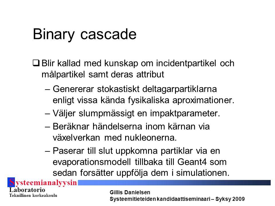 S ysteemianalyysin Laboratorio Teknillinen korkeakoulu Gillis Danielsen Systeemitieteiden kandidaattiseminaari – Syksy 2009 Binary cascade  Blir kall