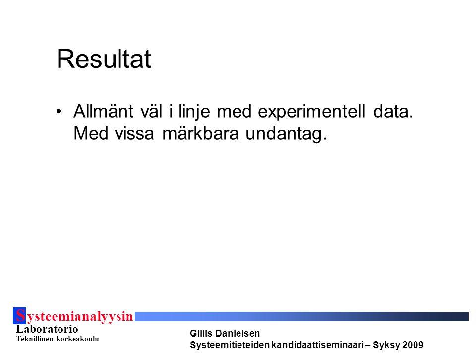 S ysteemianalyysin Laboratorio Teknillinen korkeakoulu Gillis Danielsen Systeemitieteiden kandidaattiseminaari – Syksy 2009 Resultat Allmänt väl i lin