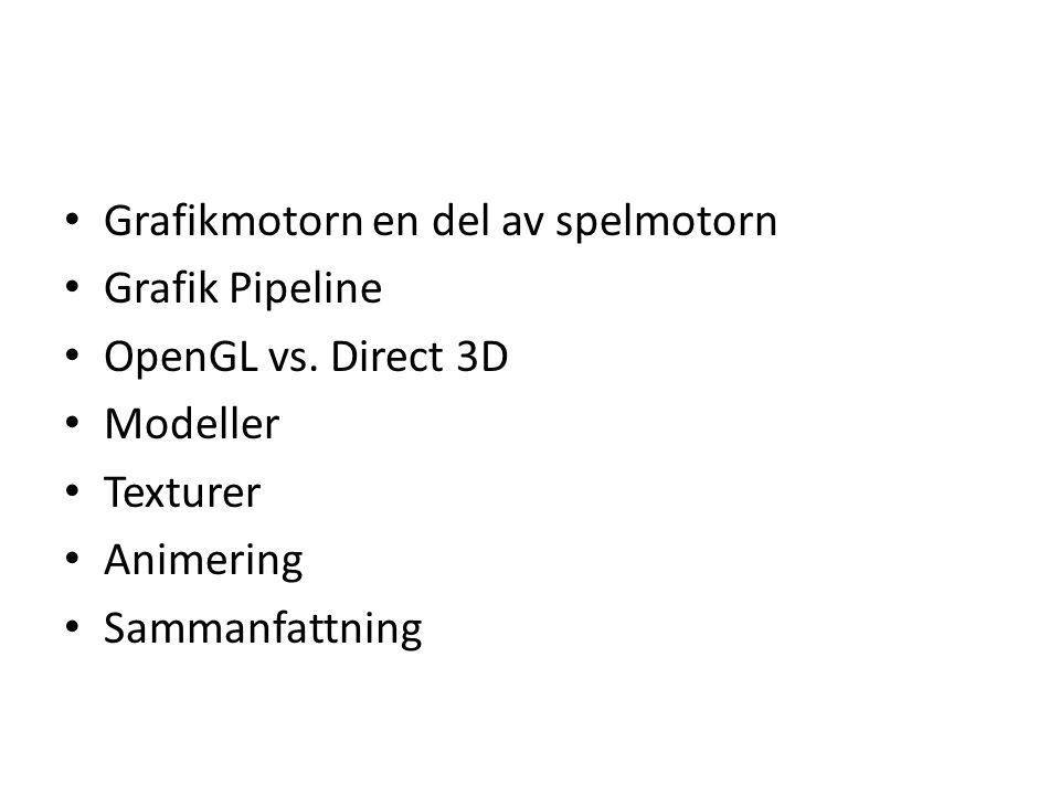 Grafikmotorn en del av spelmotorn Grafik Pipeline OpenGL vs.