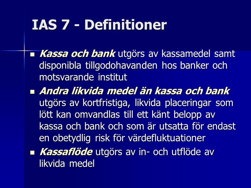 IAS 7 - Definitioner Kassa och bank utgörs av kassamedel samt disponibla tillgodohavanden hos banker och motsvarande institut Kassa och bank utgörs av kassamedel samt disponibla tillgodohavanden hos banker och motsvarande institut Andra likvida medel än kassa och bank utgörs av kortfristiga, likvida placeringar som lött kan omvandlas till ett känt belopp av kassa och bank och som är utsatta för endast en obetydlig risk för värdefluktuationer Andra likvida medel än kassa och bank utgörs av kortfristiga, likvida placeringar som lött kan omvandlas till ett känt belopp av kassa och bank och som är utsatta för endast en obetydlig risk för värdefluktuationer Kassaflöde utgörs av in- och utflöde av likvida medel Kassaflöde utgörs av in- och utflöde av likvida medel