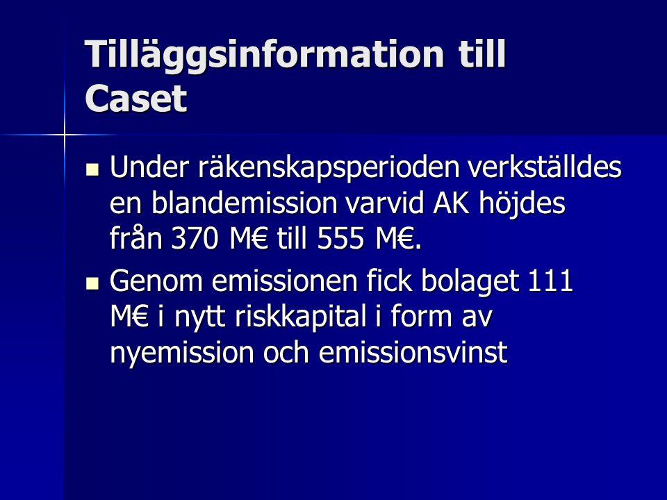Tilläggsinformation till Caset Under räkenskapsperioden verkställdes en blandemission varvid AK höjdes från 370 M€ till 555 M€.