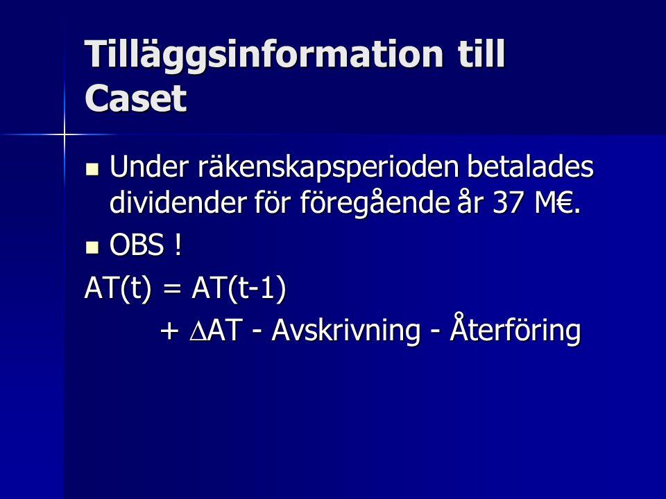 Tilläggsinformation till Caset Under räkenskapsperioden betalades dividender för föregående år 37 M€.