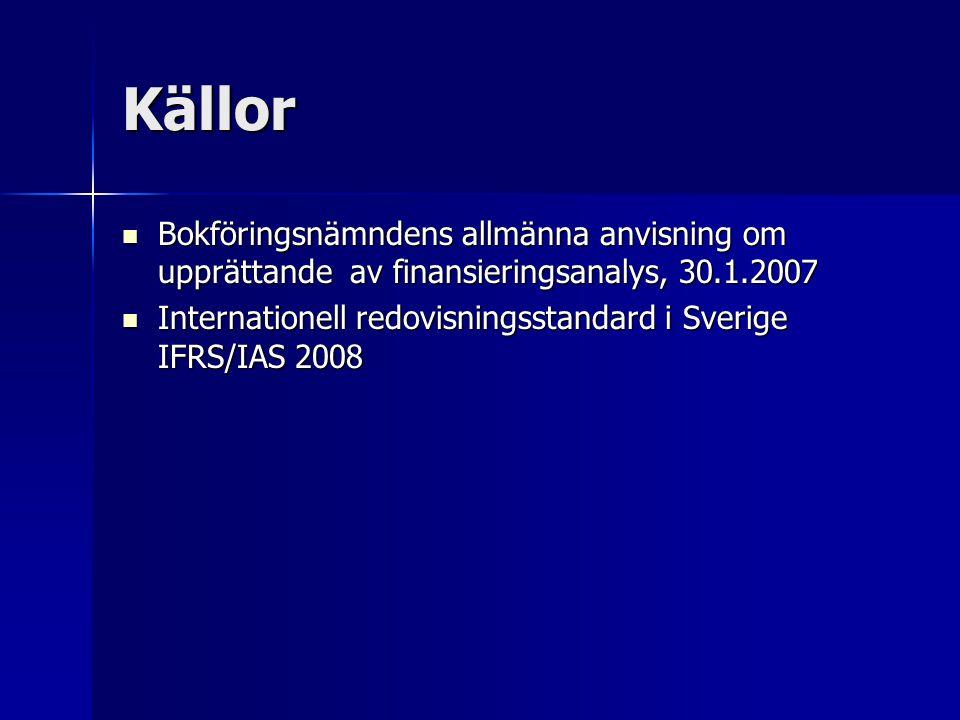 Källor Bokföringsnämndens allmänna anvisning om upprättande av finansieringsanalys, 30.1.2007 Bokföringsnämndens allmänna anvisning om upprättande av finansieringsanalys, 30.1.2007 Internationell redovisningsstandard i Sverige IFRS/IAS 2008 Internationell redovisningsstandard i Sverige IFRS/IAS 2008