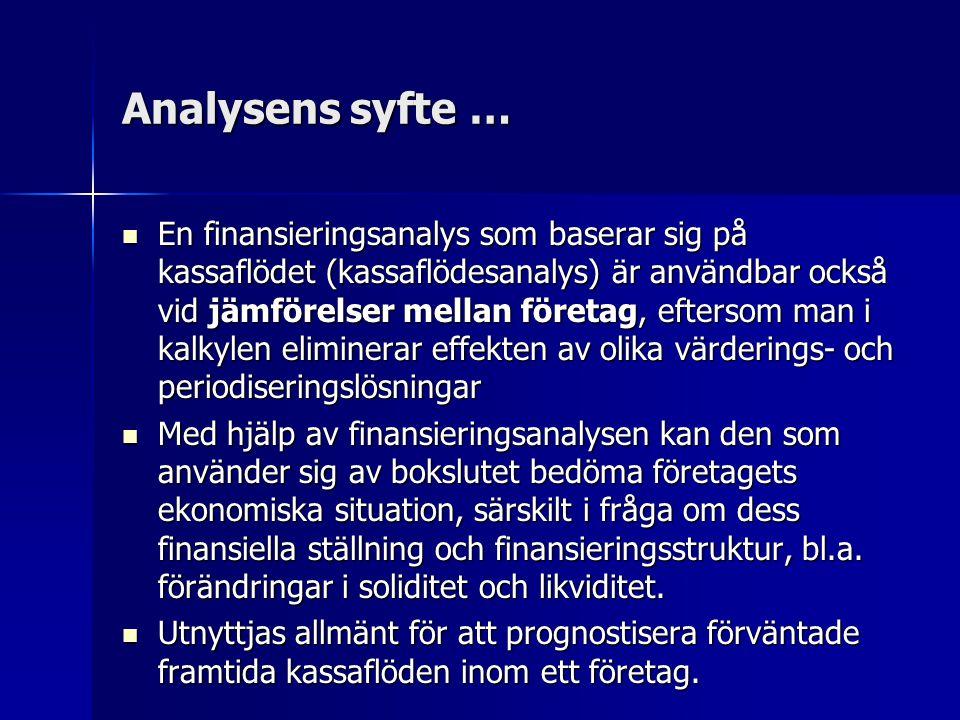 Analysens syfte … En finansieringsanalys som baserar sig på kassaflödet (kassaflödesanalys) är användbar också vid jämförelser mellan företag, eftersom man i kalkylen eliminerar effekten av olika värderings- och periodiseringslösningar En finansieringsanalys som baserar sig på kassaflödet (kassaflödesanalys) är användbar också vid jämförelser mellan företag, eftersom man i kalkylen eliminerar effekten av olika värderings- och periodiseringslösningar Med hjälp av finansieringsanalysen kan den som använder sig av bokslutet bedöma företagets ekonomiska situation, särskilt i fråga om dess finansiella ställning och finansieringsstruktur, bl.a.