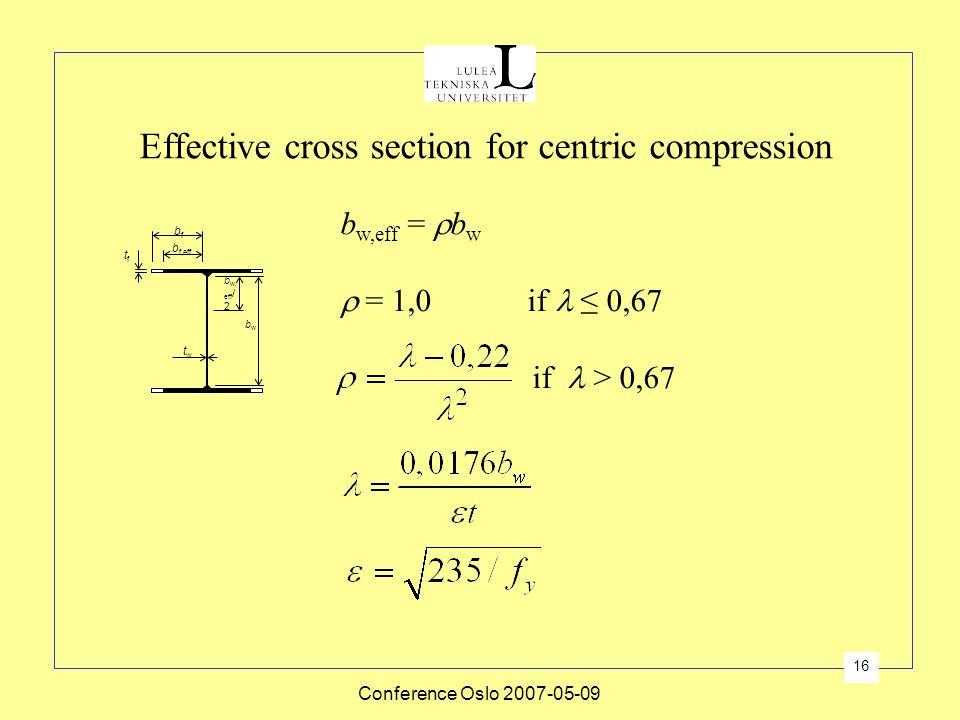 Conference Oslo 2007-05-09 16 Effective cross section for centric compression b f,eff bfbf tftf twtw b w, eff / 2 bwbw b w,eff =  b w  = 1,0 if ≤ 0,