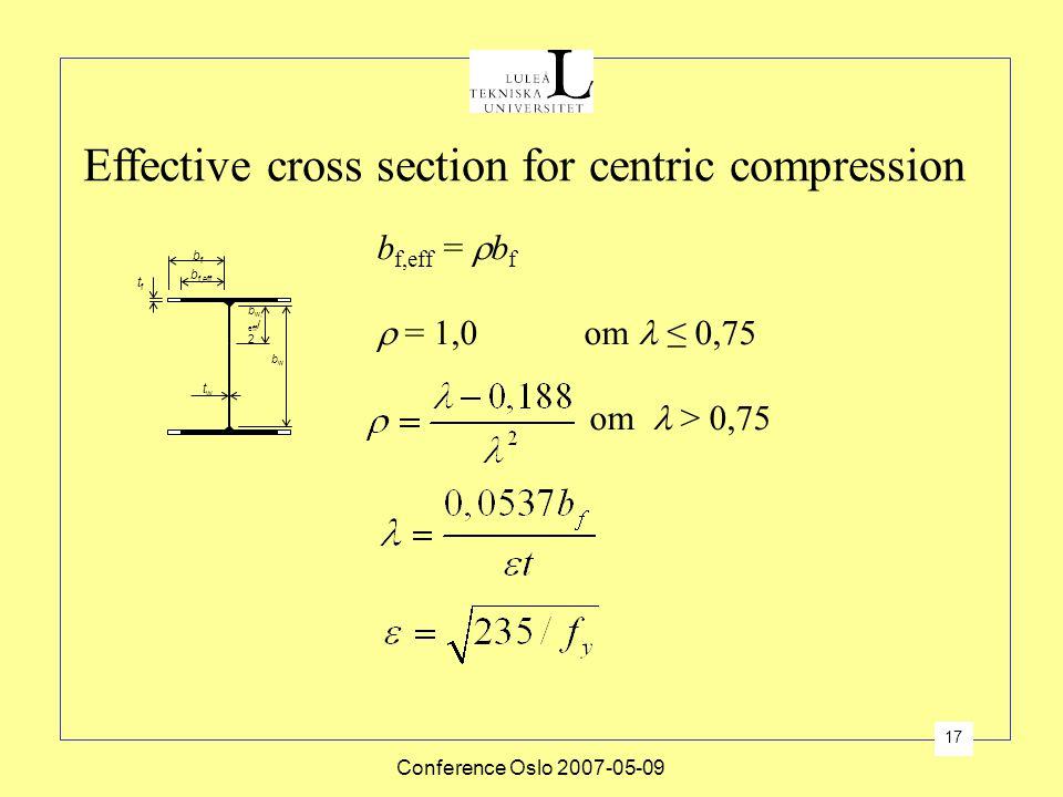 Conference Oslo 2007-05-09 17 Effective cross section for centric compression b f,eff bfbf tftf twtw b w, eff / 2 bwbw b f,eff =  b f  = 1,0 om ≤ 0,