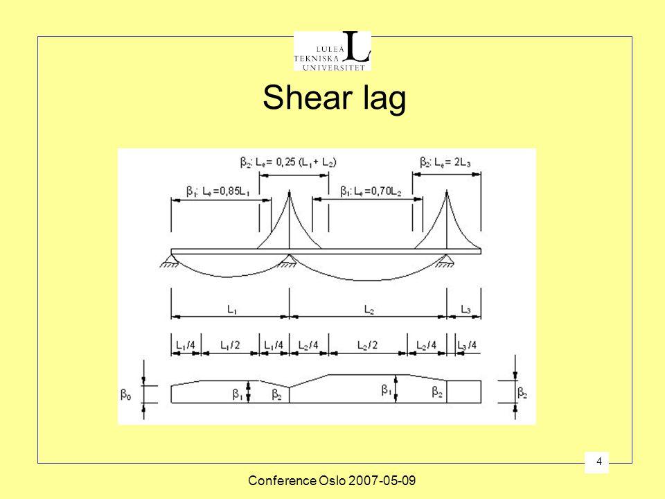 Conference Oslo 2007-05-09 4 Shear lag