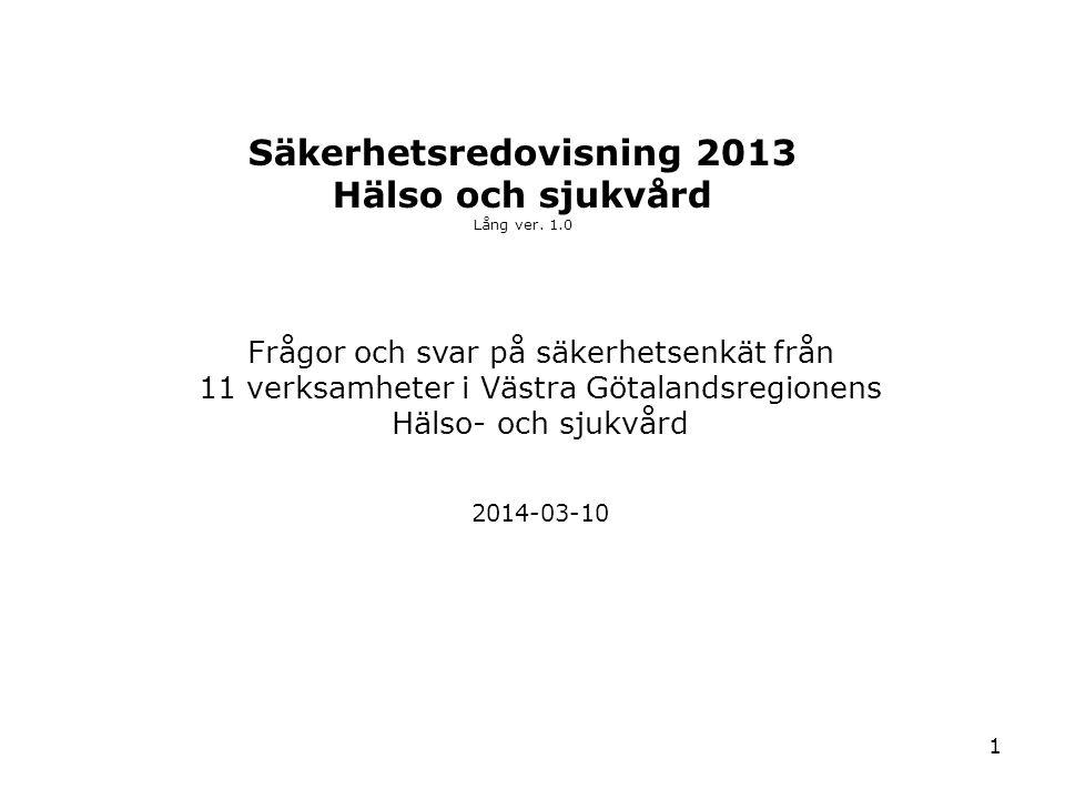 1 Säkerhetsredovisning 2013 Hälso och sjukvård Lång ver. 1.0 2014-03-10 Frågor och svar på säkerhetsenkät från 11 verksamheter i Västra Götalandsregio
