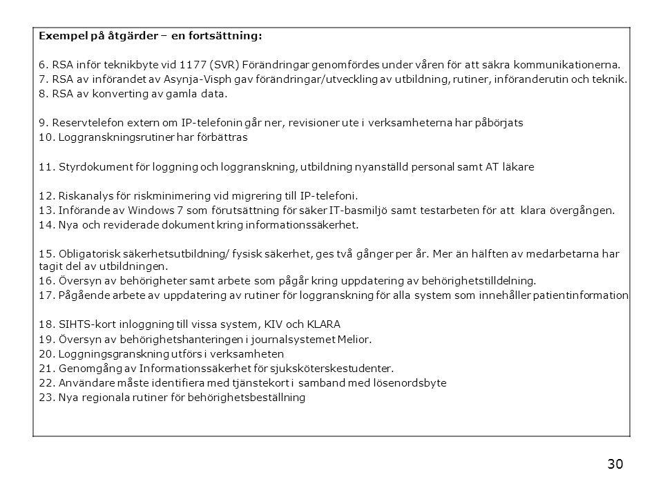 30 Exempel på åtgärder – en fortsättning: 6. RSA inför teknikbyte vid 1177 (SVR) Förändringar genomfördes under våren för att säkra kommunikationerna.