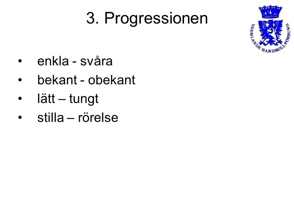 3. Progressionen enkla - svåra bekant - obekant lätt – tungt stilla – rörelse
