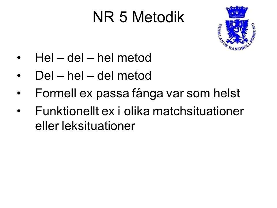 NR 5 Metodik Hel – del – hel metod Del – hel – del metod Formell ex passa fånga var som helst Funktionellt ex i olika matchsituationer eller leksituationer
