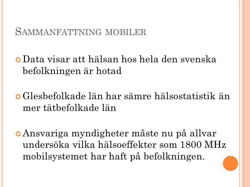 S AMMANFATTNING MOBILER Data visar att hälsan hos hela den svenska befolkningen är hotad Glesbefolkade län har sämre hälsostatistik än mer tätbefolkade län Ansvariga myndigheter måste nu på allvar undersöka vilka hälsoeffekter som 1800 MHz mobilsystemet har haft på befolkningen.