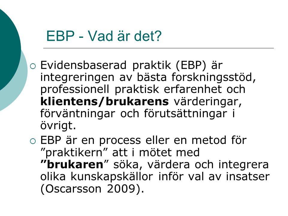 EBP - Vad är det?  Evidensbaserad praktik (EBP) är integreringen av bästa forskningsstöd, professionell praktisk erfarenhet och klientens/brukarens v