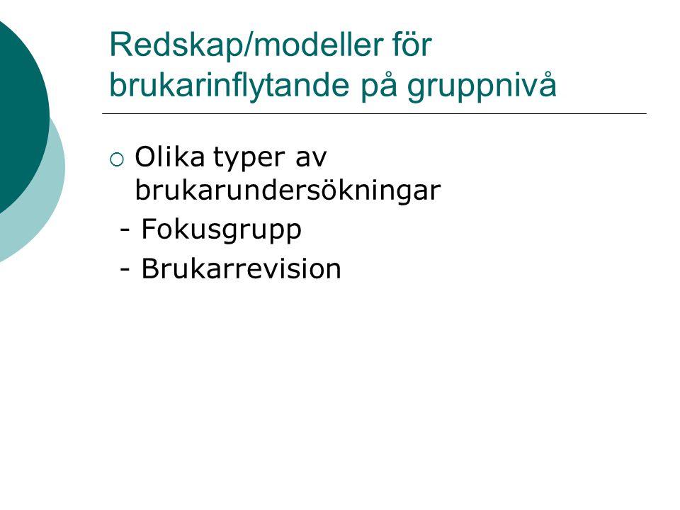 Redskap/modeller för brukarinflytande på gruppnivå  Olika typer av brukarundersökningar - Fokusgrupp - Brukarrevision