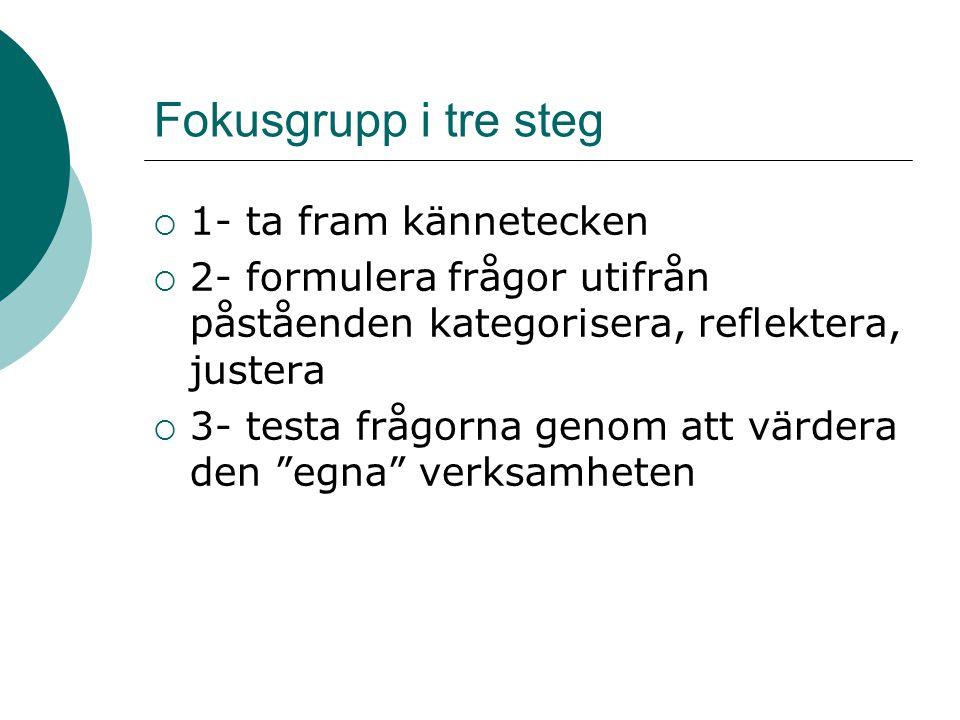 Fokusgrupp i tre steg  1- ta fram kännetecken  2- formulera frågor utifrån påståenden kategorisera, reflektera, justera  3- testa frågorna genom at