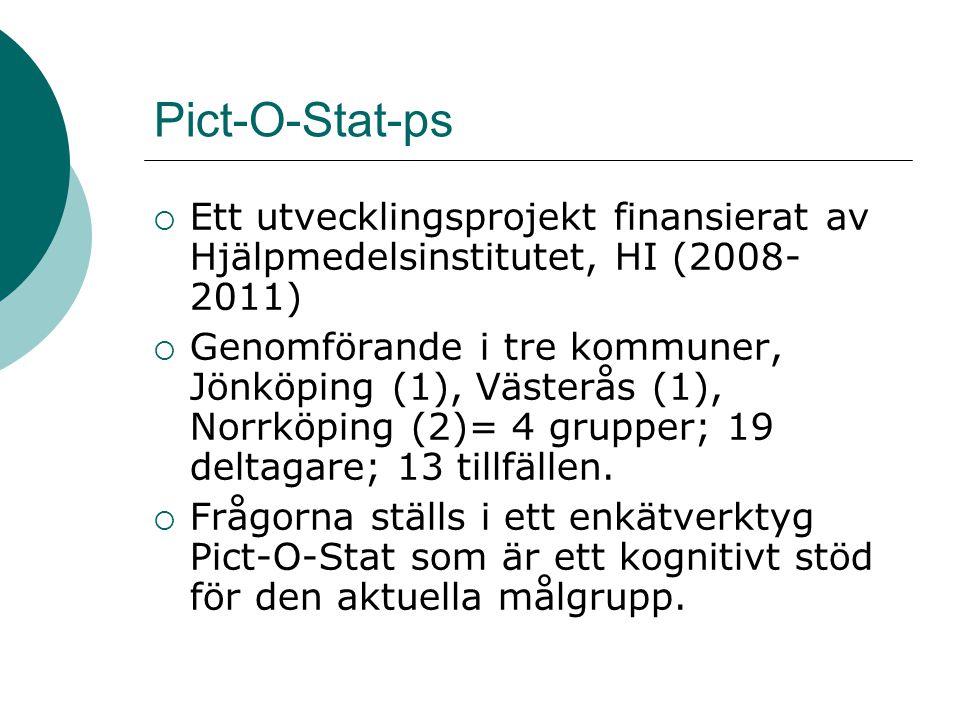 Pict-O-Stat-ps  Ett utvecklingsprojekt finansierat av Hjälpmedelsinstitutet, HI (2008- 2011)  Genomförande i tre kommuner, Jönköping (1), Västerås (