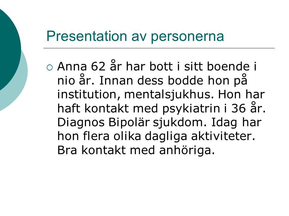 Presentation av personerna  Anna 62 år har bott i sitt boende i nio år. Innan dess bodde hon på institution, mentalsjukhus. Hon har haft kontakt med