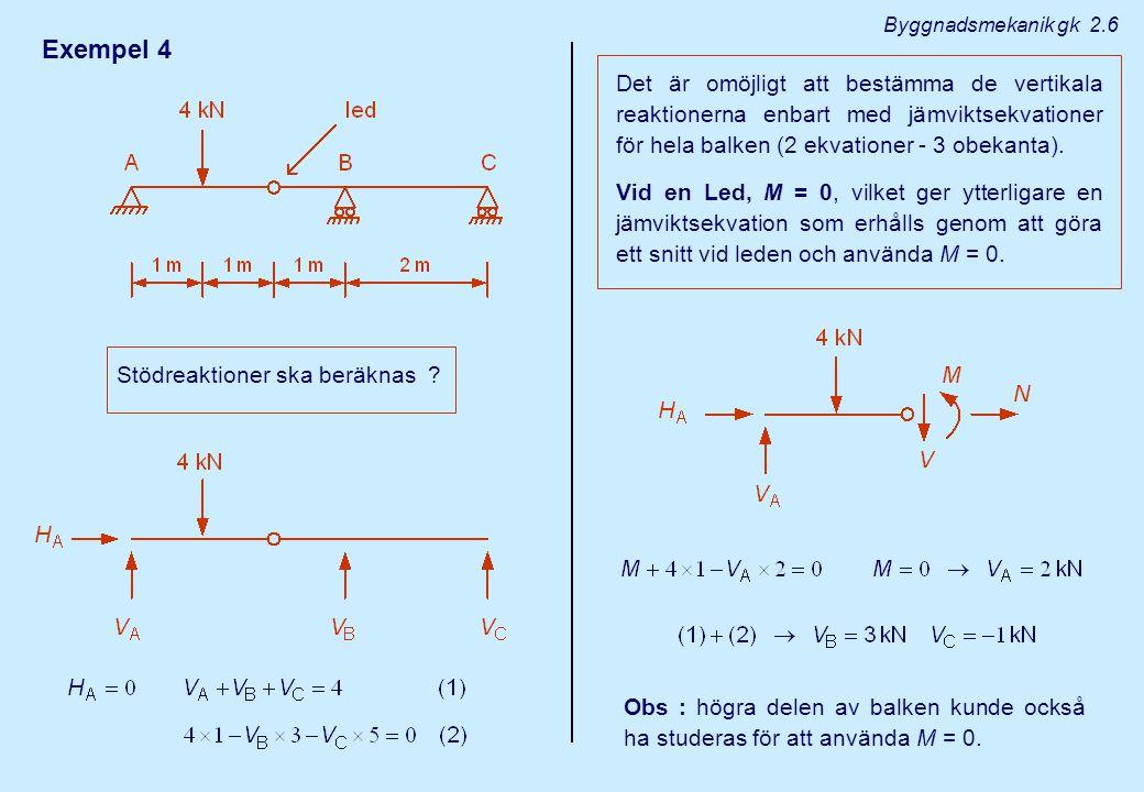 Exempel 4 Stödreaktioner ska beräknas ? Det är omöjligt att bestämma de vertikala reaktionerna enbart med jämviktsekvationer för hela balken (2 ekvati
