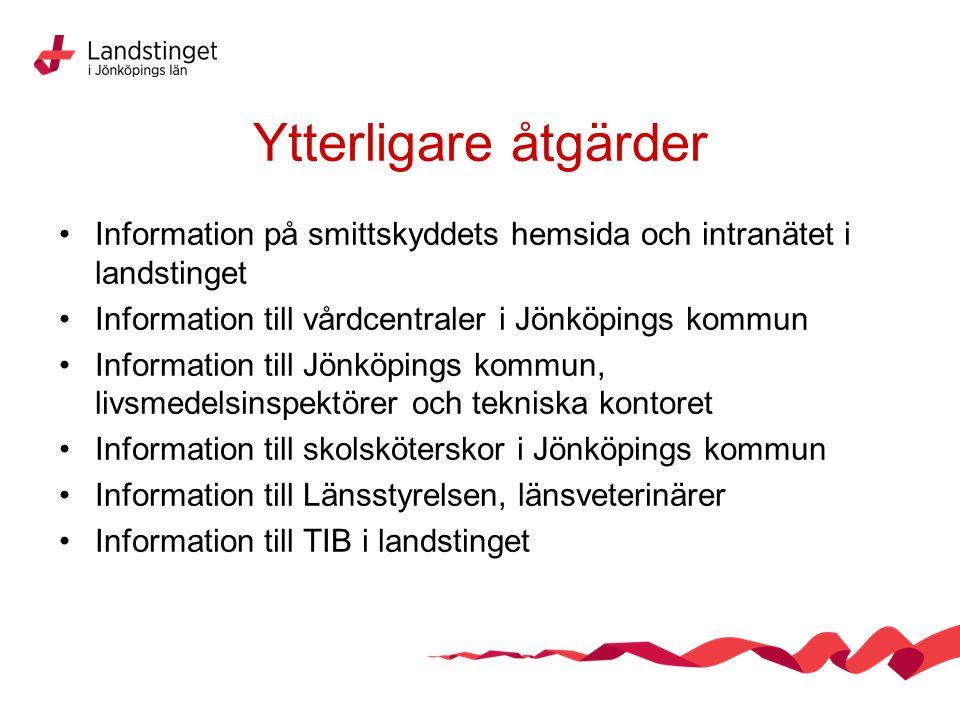 Ytterligare åtgärder Information på smittskyddets hemsida och intranätet i landstinget Information till vårdcentraler i Jönköpings kommun Information