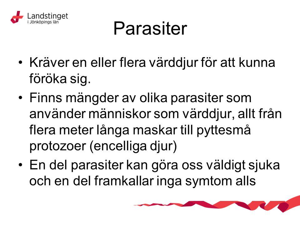Parasiter Kan spridas via förorenat vatten eller föda Kan spridas via vektorer (tex Malaria som sprids med hjälp av myggor) Kan spridas via andra djur, där parasiten behöver olika djurslag för att fullborda sin livscykel