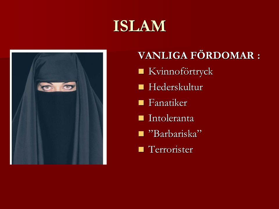 ISLAM VANLIGA FÖRDOMAR : Kvinnoförtryck Kvinnoförtryck Hederskultur Hederskultur Fanatiker Fanatiker Intoleranta Intoleranta Barbariska Barbariska Terrorister Terrorister