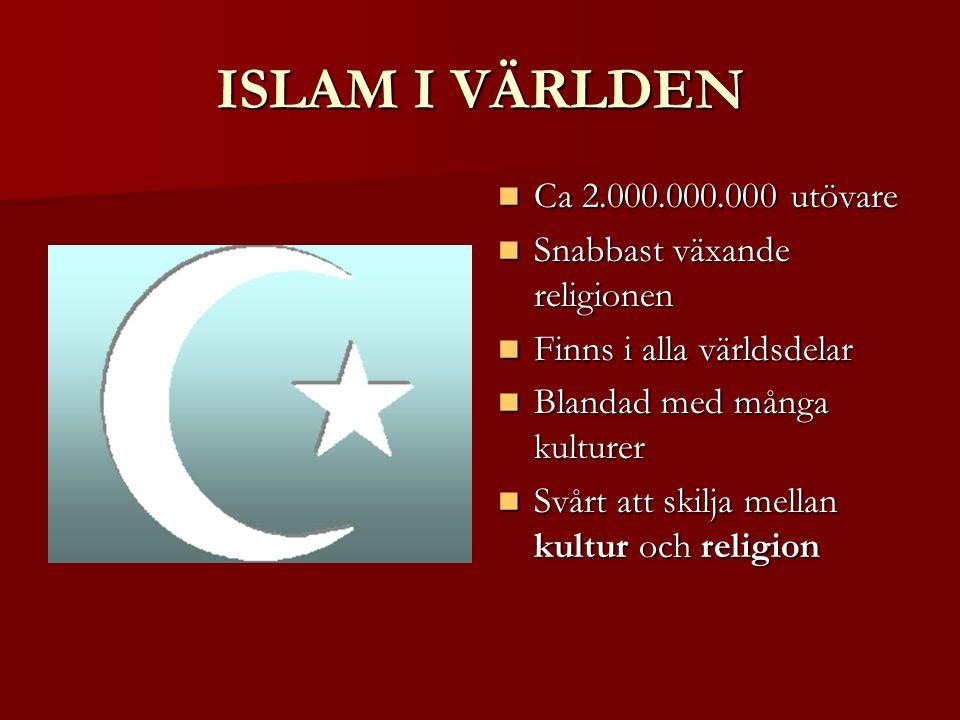 ISLAM I VÄRLDEN Ca 2.000.000.000 utövare Ca 2.000.000.000 utövare Snabbast växande religionen Snabbast växande religionen Finns i alla världsdelar Finns i alla världsdelar Blandad med många kulturer Blandad med många kulturer Svårt att skilja mellan kultur och religion Svårt att skilja mellan kultur och religion