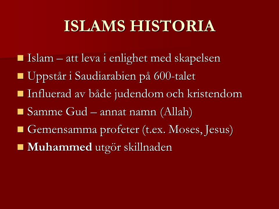 ISLAMS HISTORIA Islam – att leva i enlighet med skapelsen Islam – att leva i enlighet med skapelsen Uppstår i Saudiarabien på 600-talet Uppstår i Saudiarabien på 600-talet Influerad av både judendom och kristendom Influerad av både judendom och kristendom Samme Gud – annat namn (Allah) Samme Gud – annat namn (Allah) Gemensamma profeter (t.ex.