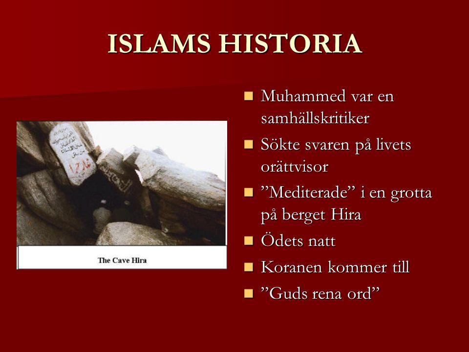 ISLAMS HISTORIA Muhammed var en samhällskritiker Muhammed var en samhällskritiker Sökte svaren på livets orättvisor Sökte svaren på livets orättvisor Mediterade i en grotta på berget Hira Mediterade i en grotta på berget Hira Ödets natt Ödets natt Koranen kommer till Koranen kommer till Guds rena ord Guds rena ord