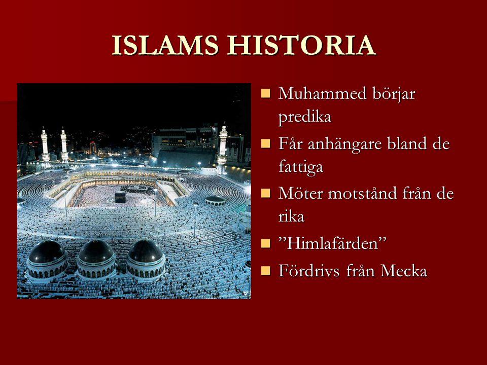 ISLAMS HISTORIA Muhammed börjar predika Muhammed börjar predika Får anhängare bland de fattiga Får anhängare bland de fattiga Möter motstånd från de rika Möter motstånd från de rika Himlafärden Himlafärden Fördrivs från Mecka Fördrivs från Mecka