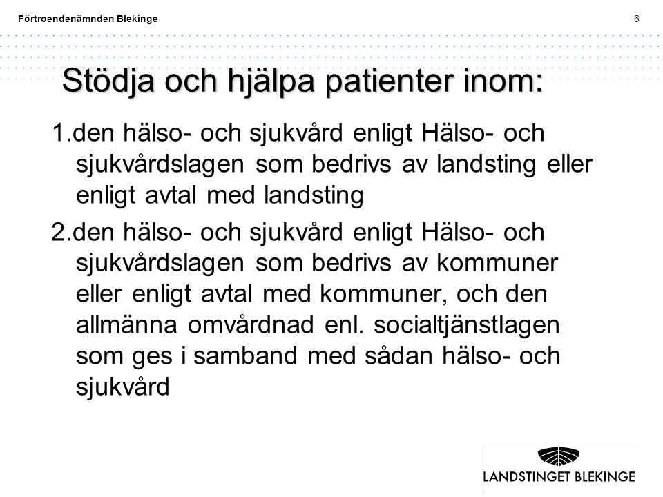 Förtroendenämnden Blekinge6 Stödja och hjälpa patienter inom: 1.den hälso- och sjukvård enligt Hälso- och sjukvårdslagen som bedrivs av landsting elle